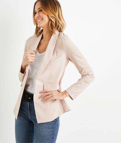 Veste tailleur en maille rose femme ROSE
