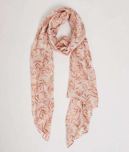 Foulard rose imprimé feuillages femme ROSE
