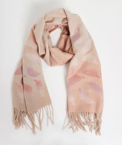 Echarpe rose motifs plumes femme ROSE