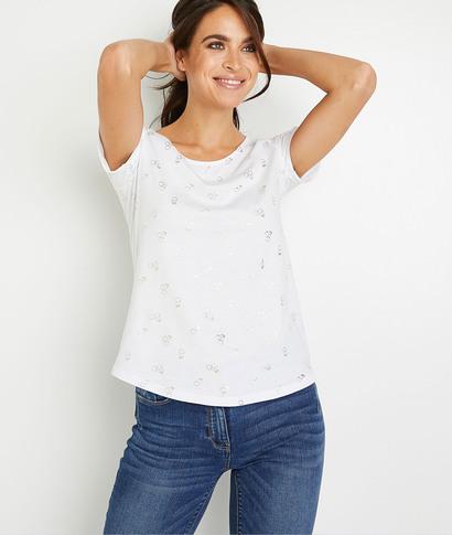 T-shirt imprimé brillant femme BLANC