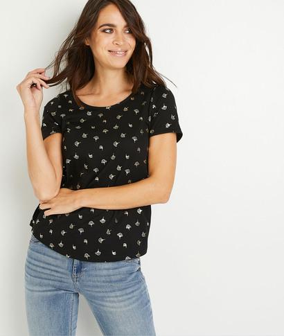T-shirt imprimé brillant femme NOIR