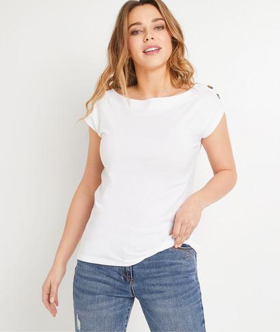 T-shirt blanc à boutons femme BLANC