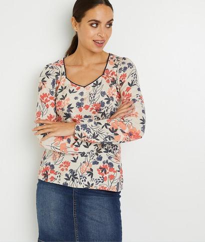 T-shirt manches longues fleuri femme BEIGE