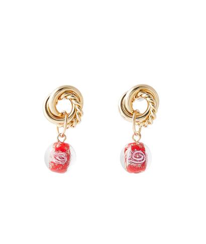Boucles d'oreilles perles de verre ROUGE