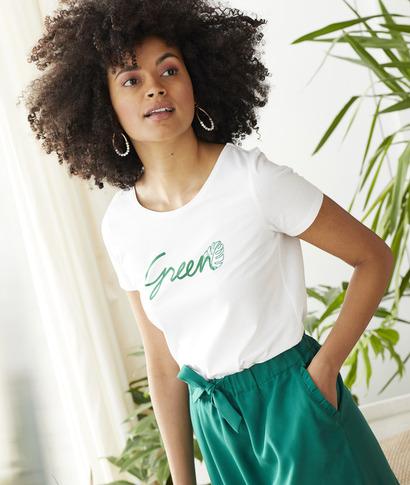 T-shirt à message green femme BLANC