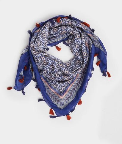 Foulard carré en coton imprimé femme BLEU