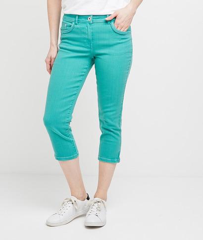 Corsaire en jean de couleur femme MENTHE