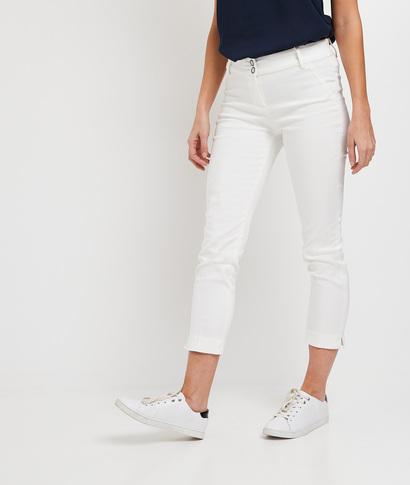 Pantalon raccourci uni femme BLANC