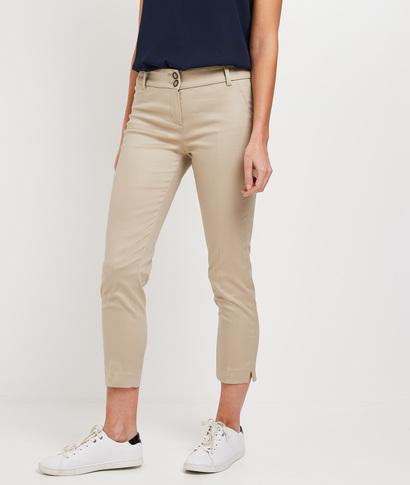 Pantalon raccourci uni femme BEIGE