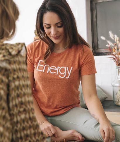 T-shirt à message orange femme ORANGE