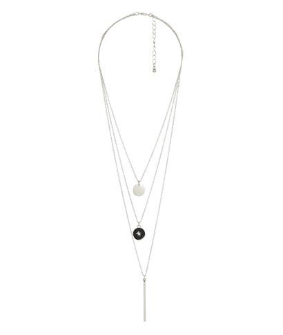 Collier 3 rangs pendentifs argentés NOIR