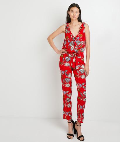 Combinaison pantalon imprimée femme ROUGE