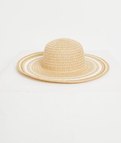 Chapeau de paille avec galons femme BEIGE