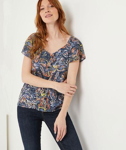 T-shirt imprimé papillons femme MARINE