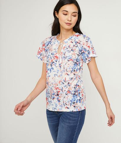 T-shirt imprimé pétales colorés femme ECRU
