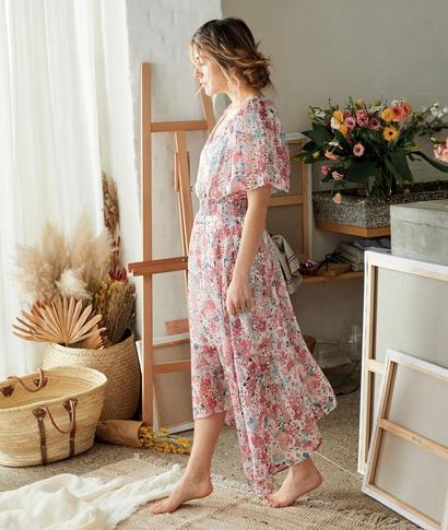 Robe longue fluide et fleurie femme ROSE