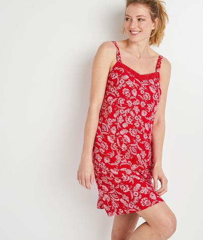 Robe rouge imprimée à bretelles femme ROUGE