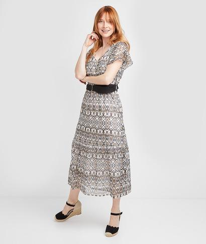 Robe longue imprimée ceinturée femme NOIR