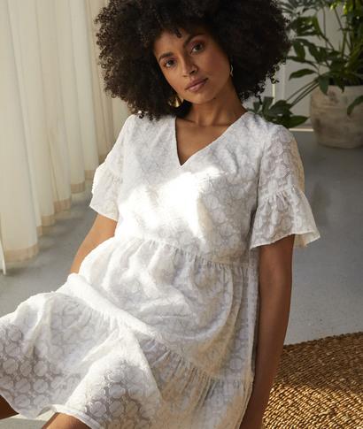 Robe blanche en voile femme BLANC