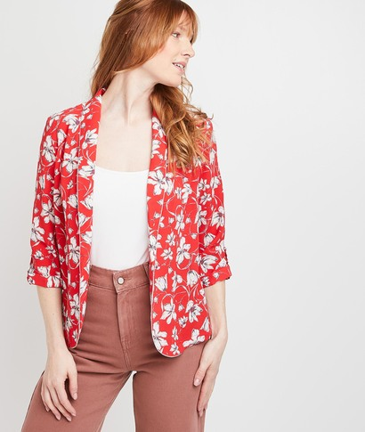 Veste blazer rouge fleurie femme ROUGE