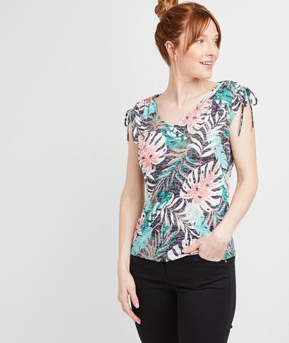 T-shirt imprimé tropical femme NOIR