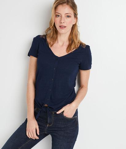 T-shirt uni à dentelle noué femme MARINE