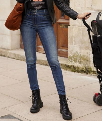 Jean MILAN slim taille haute femme STONE
