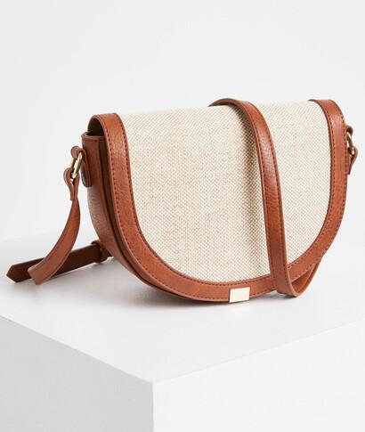 Petit sac bandoulière bimatières femme CAMEL