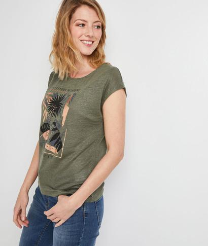 T-shirt en lin et dos fantaisie femme KAKI