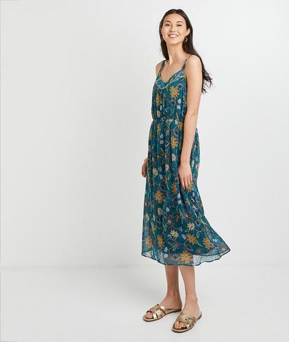 Robe mi-longue imprimée femme VERT