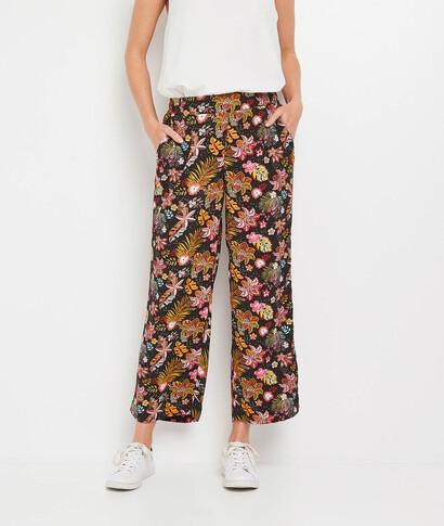 Pantalon large imprimé et fluide femme MULTICOLORE