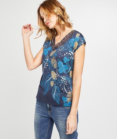 T-shirt tropical et résille brodée femme MARINE