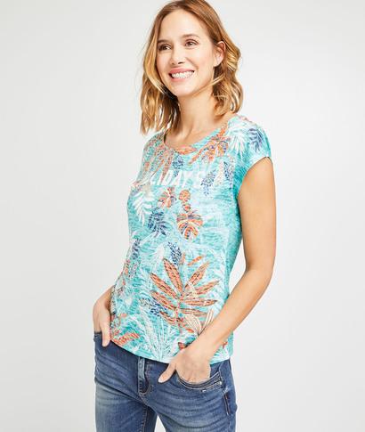 T-shirt bleu imprimé tropical femme MENTHE