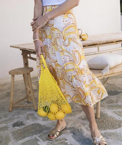 Jupe en voile imprimé jaune femme JAUNE