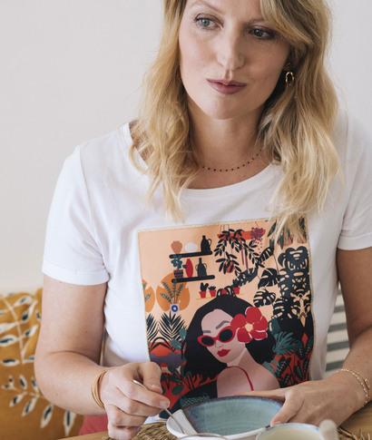 T-shirt blanc print visage femme BLANC
