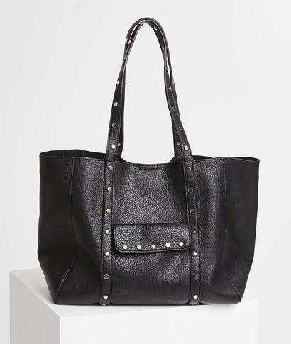 Grand sac cabas noir clouté femme NOIR
