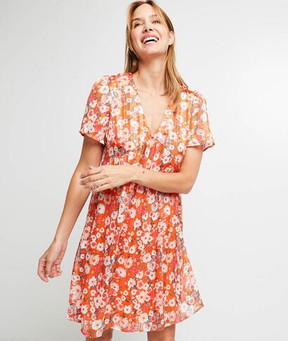 Robe orange imprimé fleuri femme ORANGE