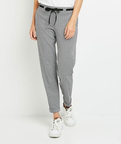 Pantalon en maille à chevrons femme NOIR
