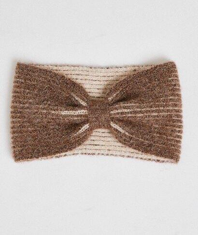 Headband tricoté beige femme ECRU