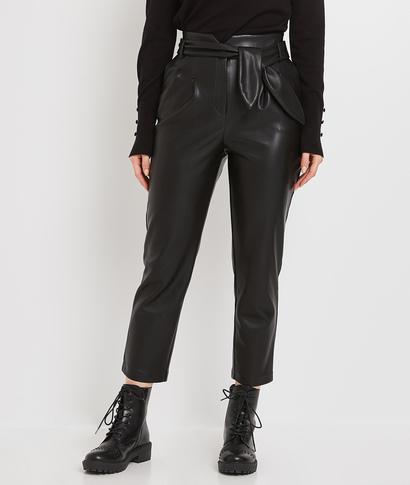 Pantalon similicuir à pinces femme NOIR
