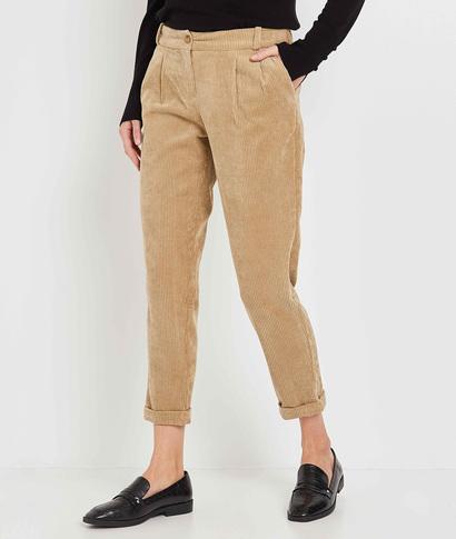 Pantalon en velours beige femme BEIGE