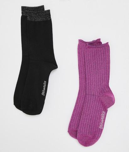 Chaussettes femme hautes (lot de 2) ROSE