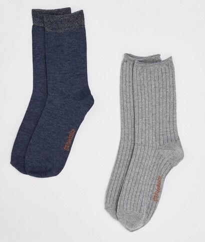 Chaussettes femme hautes (lot de 2) MARINE