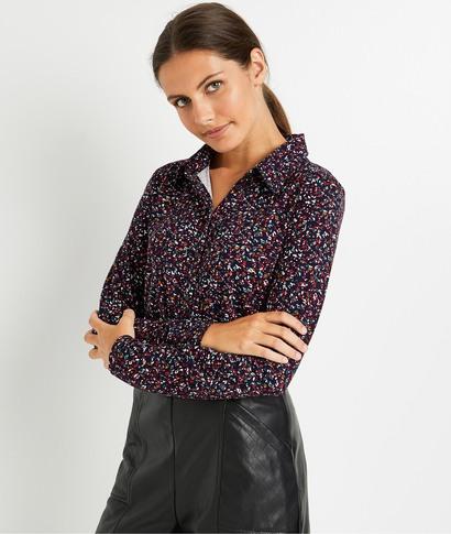 Tshirt esprit chemise imprimé femme MARINE