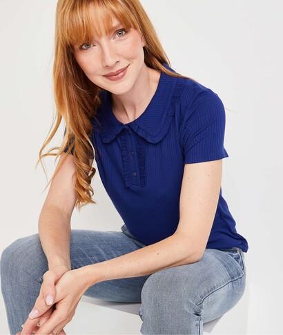 Tshirt style polo bleu femme MARINE
