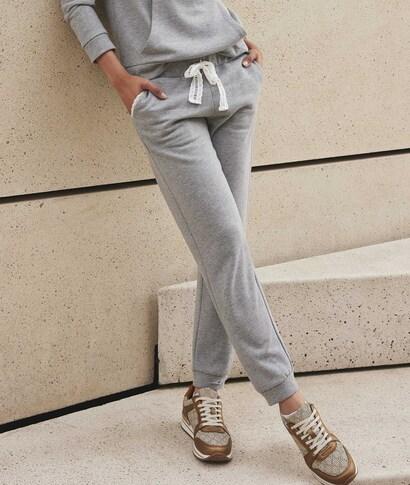 Pantalon molleton gris femme GRIS