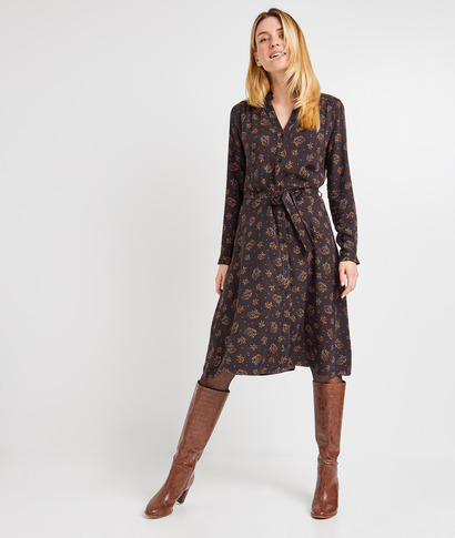Robe chemise imprimée femme IMPRIME FOND NOIR