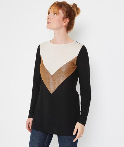 Tshirt long color block femme NOIR