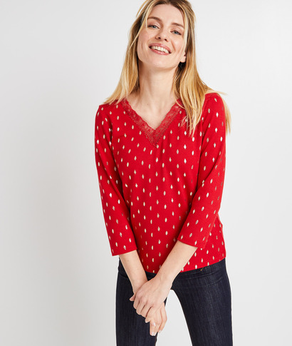 Tshirt imprimé dentelle femme ROUGE