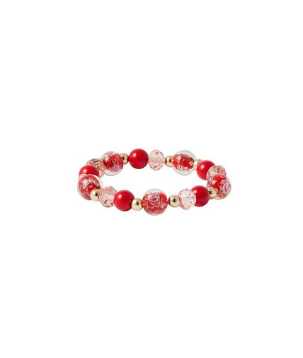 Bracelet élastique perles de verre ROUGE